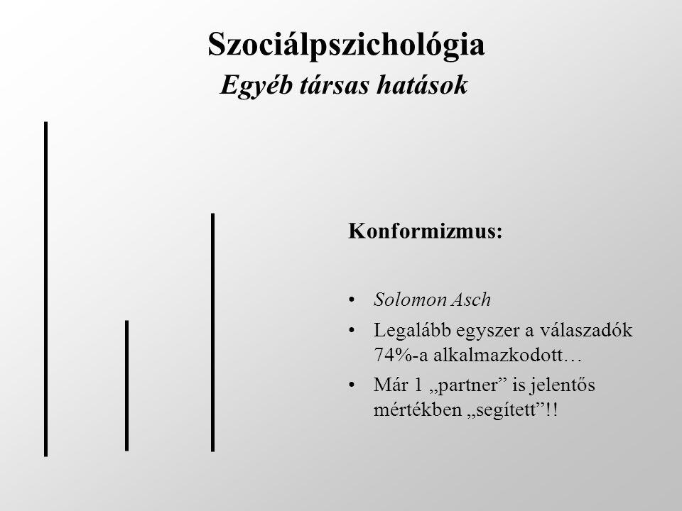 """Szociálpszichológia Egyéb társas hatások Konformizmus: Solomon Asch Legalább egyszer a válaszadók 74%-a alkalmazkodott… Már 1 """"partner"""" is jelentős mé"""