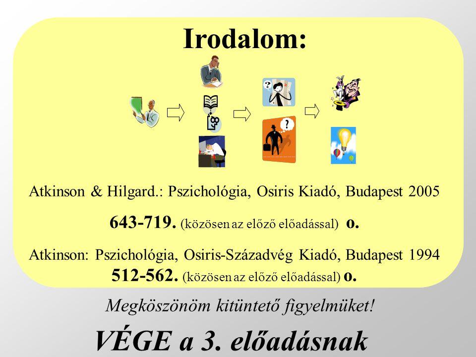 VÉGE a 3. előadásnak Atkinson & Hilgard.: Pszichológia, Osiris Kiadó, Budapest 2005 643-719. (közösen az előző előadással) o. Atkinson: Pszichológia,