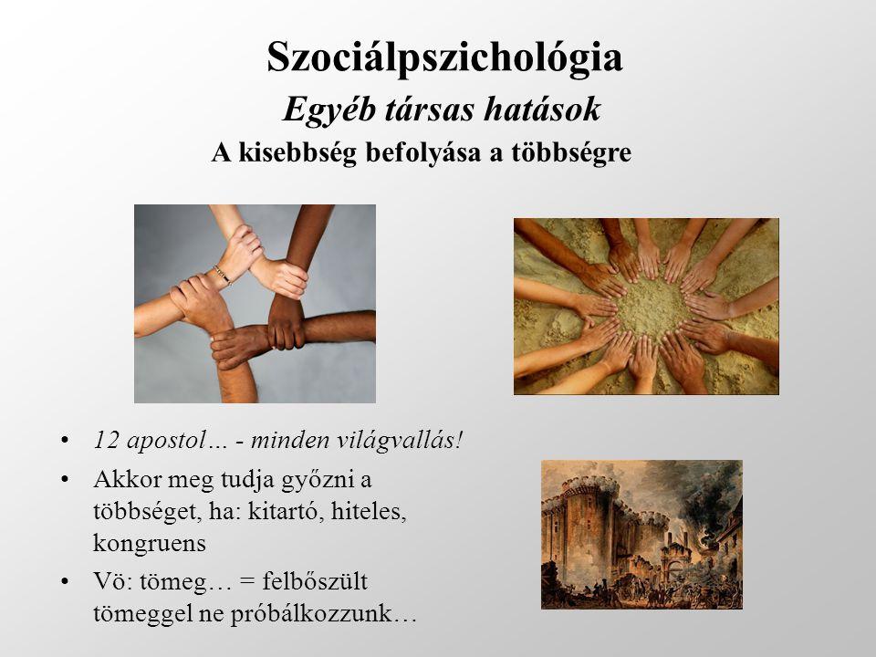 Szociálpszichológia Egyéb társas hatások A kisebbség befolyása a többségre 12 apostol… - minden világvallás! Akkor meg tudja győzni a többséget, ha: k