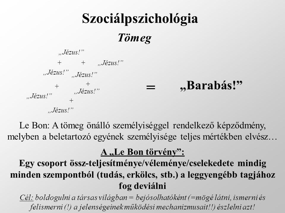 """Szociálpszichológia Tömeg """"Jézus!"""" + + + + + = """"Barabás!"""" Le Bon: A tömeg önálló személyiséggel rendelkező képződmény, melyben a beletartozó egyének s"""