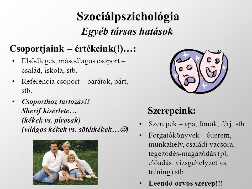 Szociálpszichológia Egyéb társas hatások Csoportjaink – értékeink(!)…: Elsődleges, másodlagos csoport – család, iskola, stb. Referencia csoport – bará