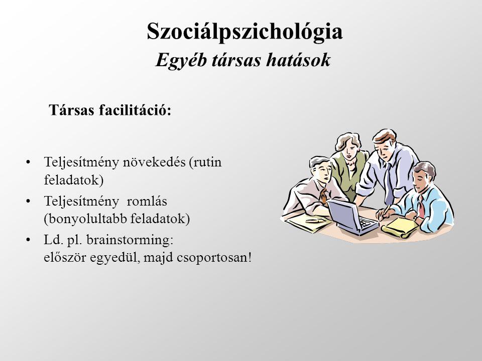 Szociálpszichológia Egyéb társas hatások Társas facilitáció: Teljesítmény növekedés (rutin feladatok) Teljesítmény romlás (bonyolultabb feladatok) Ld.