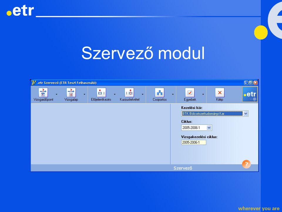 Szervező modul