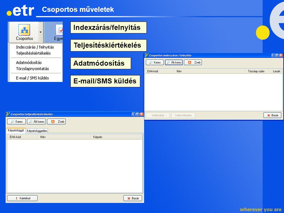 Csoportos műveletek Indexzárás/felnyitás E-mail/SMS küldés Adatmódosítás Teljesítéskiértékelés