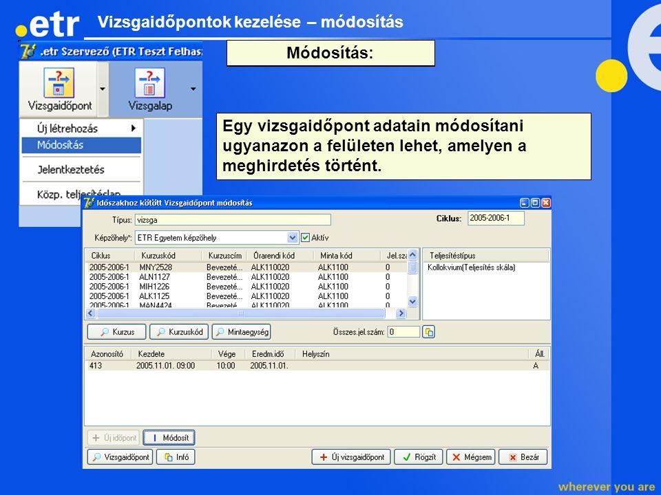 Vizsgaidőpontok kezelése – módosítás Egy vizsgaidőpont adatain módosítani ugyanazon a felületen lehet, amelyen a meghirdetés történt. Az időpont kiker