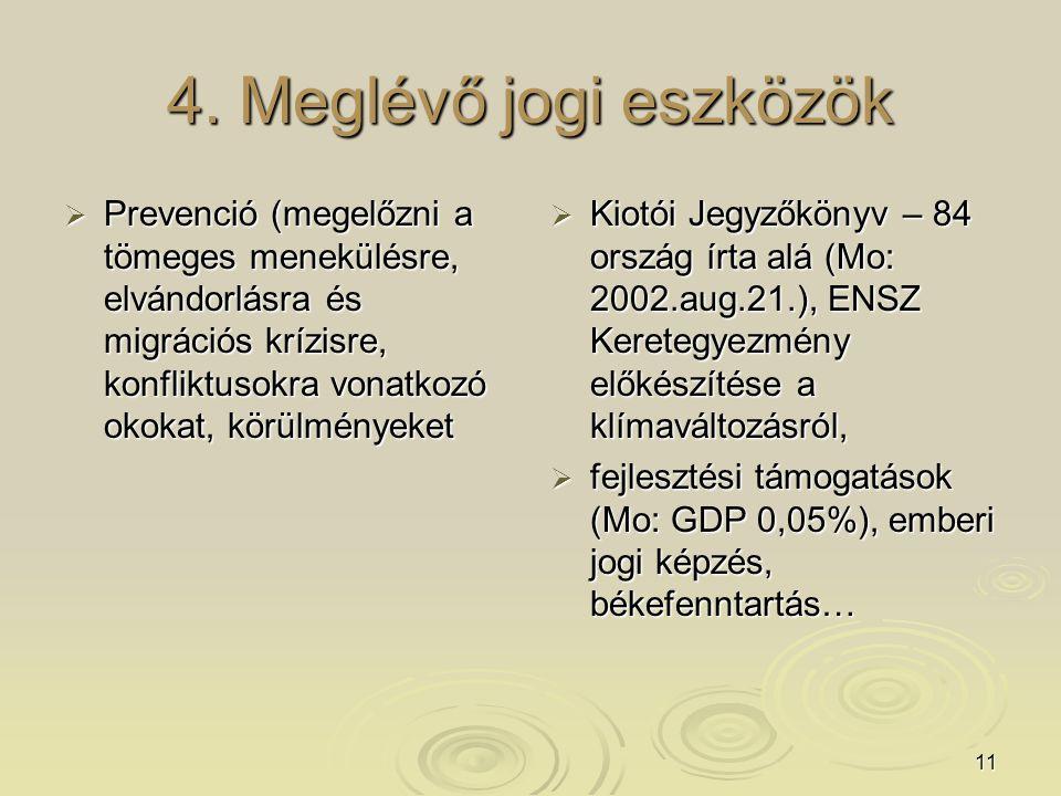 11 4. Meglévő jogi eszközök  Prevenció (megelőzni a tömeges menekülésre, elvándorlásra és migrációs krízisre, konfliktusokra vonatkozó okokat, körülm