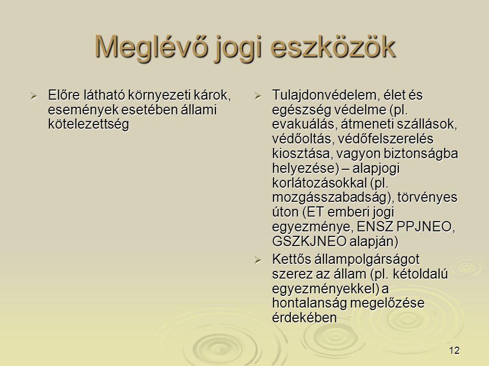 12 Meglévő jogi eszközök  Előre látható környezeti károk, események esetében állami kötelezettség  Tulajdonvédelem, élet és egészség védelme (pl. ev