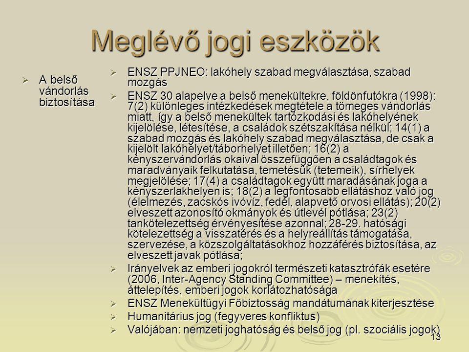 13 Meglévő jogi eszközök  A belső vándorlás biztosítása  ENSZ PPJNEO: lakóhely szabad megválasztása, szabad mozgás  ENSZ 30 alapelve a belső menekültekre, földönfutókra (1998): 7(2) különleges intézkedések megtétele a tömeges vándorlás miatt, így a belső menekültek tartózkodási és lakóhelyének kijelölése, létesítése, a családok szétszakítása nélkül; 14(1) a szabad mozgás és lakóhely szabad megválasztása, de csak a kijelölt lakóhelyet/táborhelyet illetően; 16(2) a kényszervándorlás okaival összefüggően a családtagok és maradványaik felkutatása, temetésük (tetemeik), sírhelyek megjelölése; 17(4) a családtagok együtt maradásának joga a kényszerlakhelyen is; 18(2) a legfontosabb ellátáshoz való jog (élelmezés, zacskós ivóvíz, fedél, alapvető orvosi ellátás); 20(2) elveszett azonosító okmányok és útlevél pótlása; 23(2) tankötelezettség érvényesítése azonnal; 28-29.