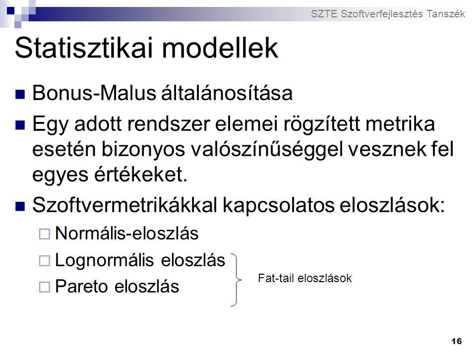 SZTE Szoftverfejlesztés Tanszék 16 Statisztikai modellek Bonus-Malus általánosítása Egy adott rendszer elemei rögzített metrika esetén bizonyos valósz