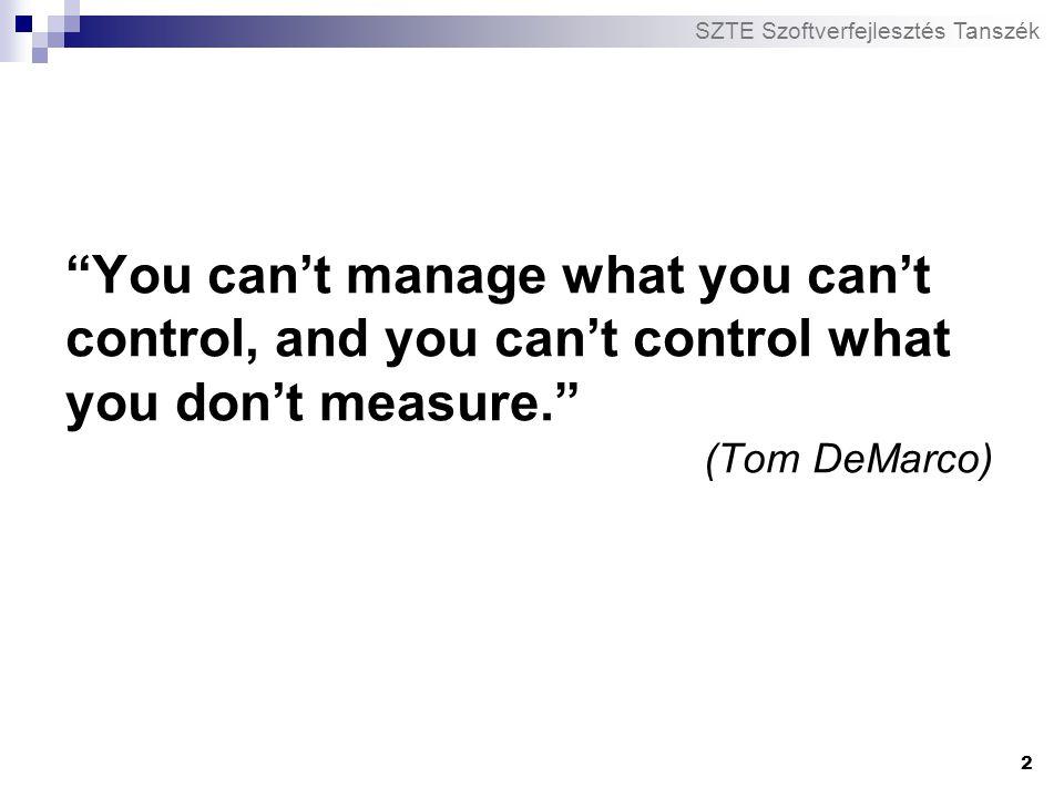"SZTE Szoftverfejlesztés Tanszék 2 ""You can't manage what you can't control, and you can't control what you don't measure."" (Tom DeMarco)"