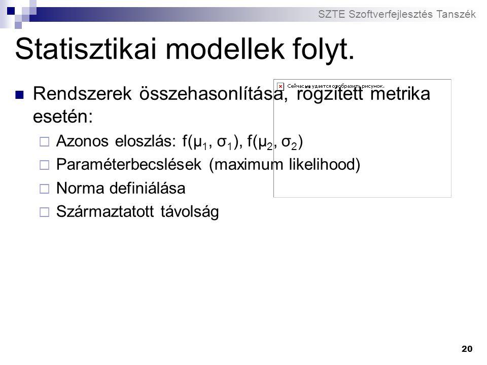 SZTE Szoftverfejlesztés Tanszék 20 Statisztikai modellek folyt. Rendszerek összehasonlítása, rögzített metrika esetén:  Azonos eloszlás: f(μ 1, σ 1 )