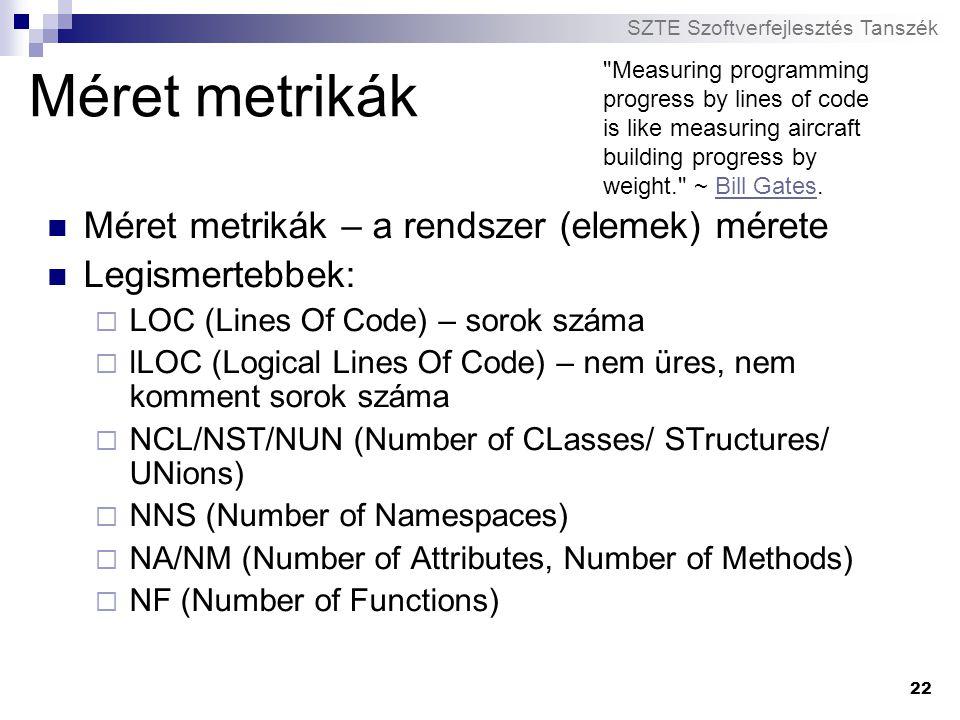 SZTE Szoftverfejlesztés Tanszék 22 Méret metrikák Méret metrikák – a rendszer (elemek) mérete Legismertebbek:  LOC (Lines Of Code) – sorok száma  lL