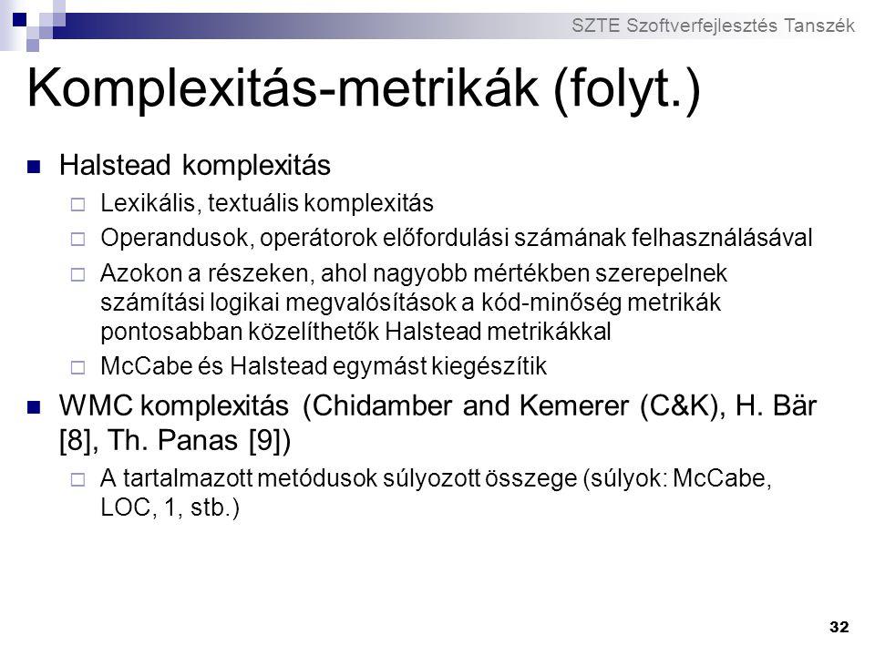 SZTE Szoftverfejlesztés Tanszék 32 Komplexitás-metrikák (folyt.) Halstead komplexitás  Lexikális, textuális komplexitás  Operandusok, operátorok elő