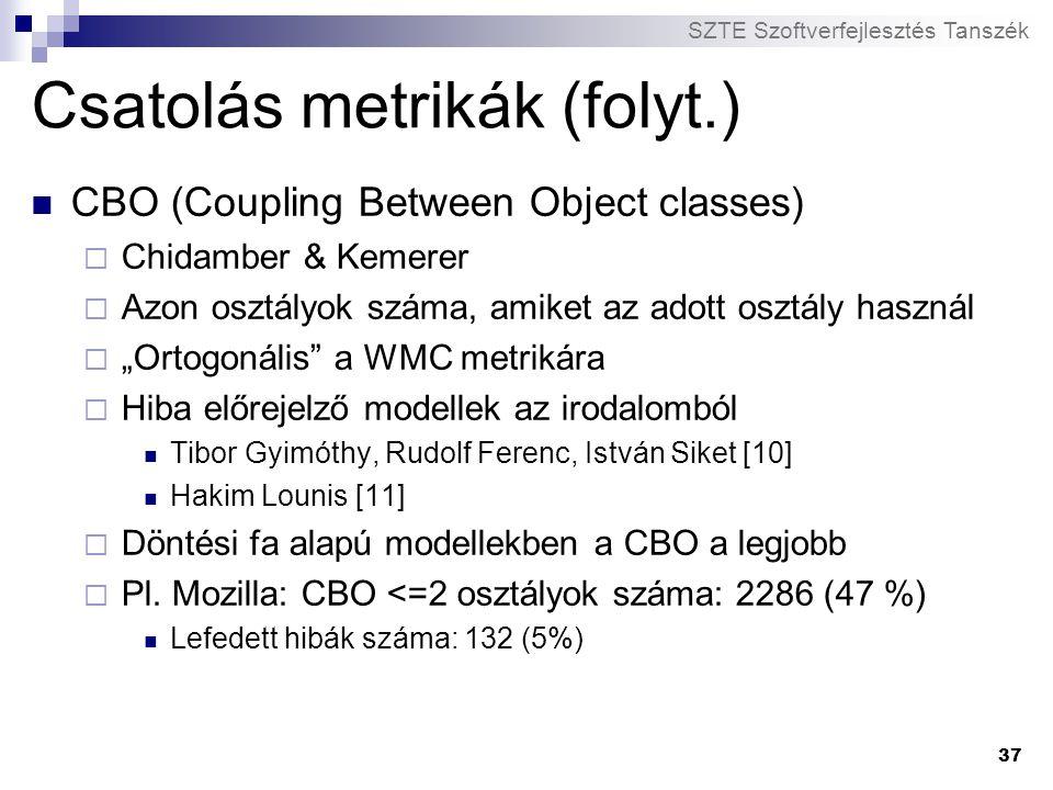 SZTE Szoftverfejlesztés Tanszék 37 Csatolás metrikák (folyt.) CBO (Coupling Between Object classes)  Chidamber & Kemerer  Azon osztályok száma, amik