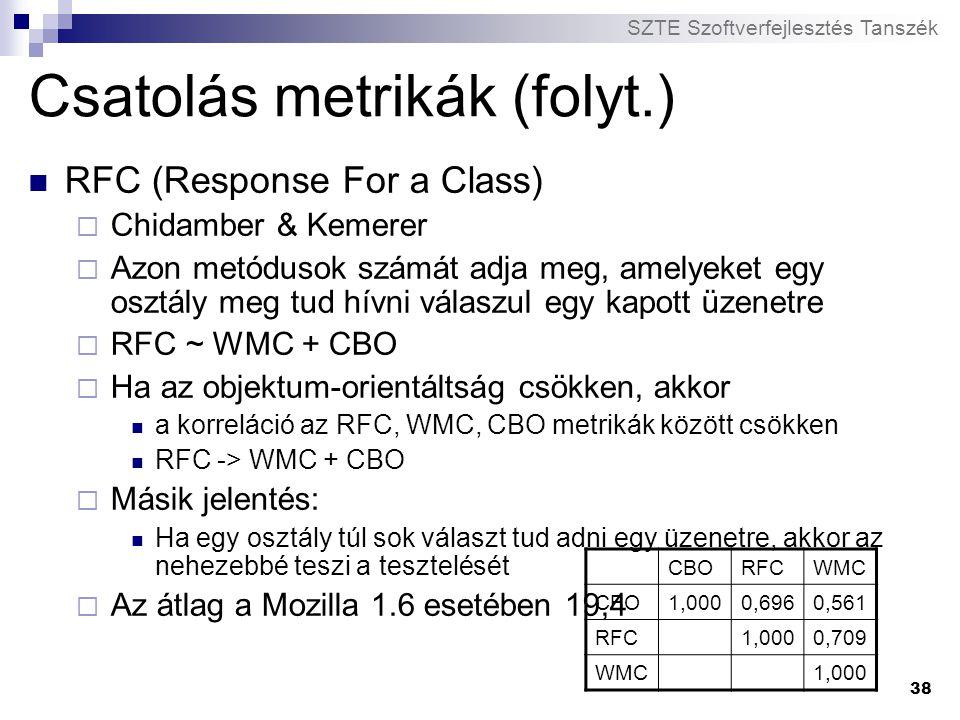 SZTE Szoftverfejlesztés Tanszék 38 Csatolás metrikák (folyt.) RFC (Response For a Class)  Chidamber & Kemerer  Azon metódusok számát adja meg, amely
