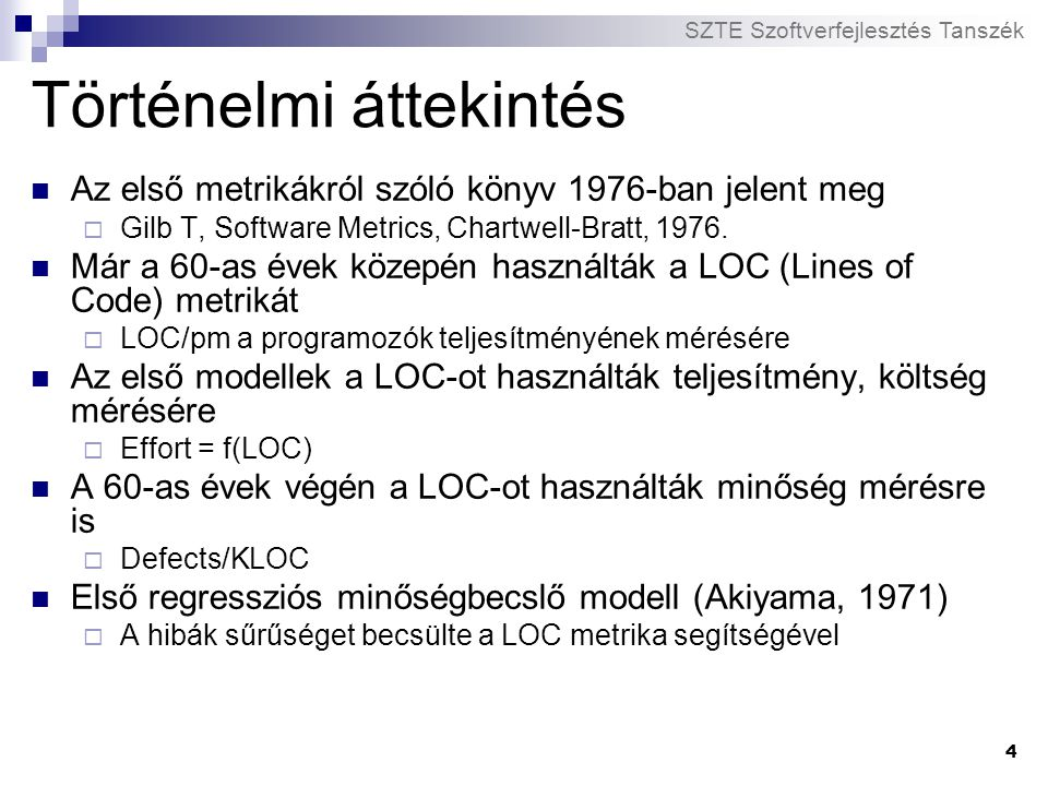 SZTE Szoftverfejlesztés Tanszék 25 Öröklődés alapú metrikák A rendszerben található osztályok öröklődési kapcsolatait mérik Specialization és reUse metrikák  A strukturáltságot és az újrafelhasználást méri Az első öröklődés alapú metrikákat (DIT, NOC) Chidamber és Kemerer vezette be  Osztály szintű metrikák
