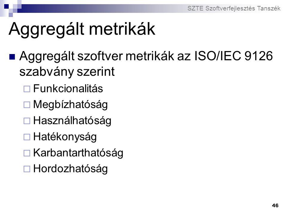 SZTE Szoftverfejlesztés Tanszék 46 Aggregált metrikák Aggregált szoftver metrikák az ISO/IEC 9126 szabvány szerint  Funkcionalitás  Megbízhatóság 