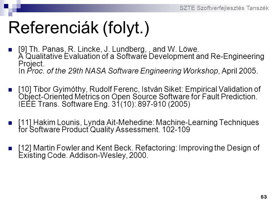 SZTE Szoftverfejlesztés Tanszék 53 Referenciák (folyt.) [9] Th. Panas, R. Lincke, J. Lundberg,, and W. Löwe. A Qualitative Evaluation of a Software De