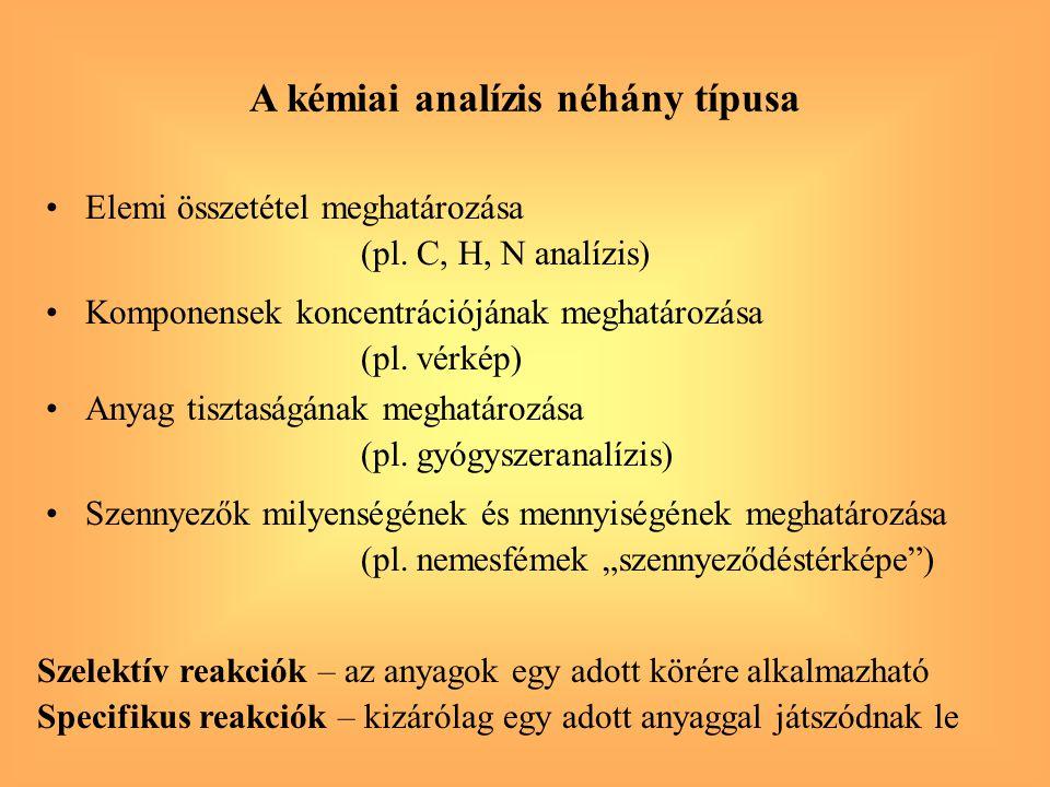 Elemi összetétel meghatározása (pl. C, H, N analízis) A kémiai analízis néhány típusa Komponensek koncentrációjának meghatározása (pl. vérkép) Anyag t