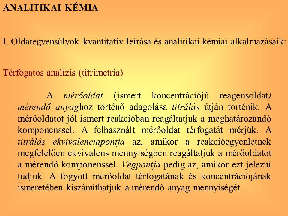 I. Oldategyensúlyok kvantitatív leírása és analitikai kémiai alkalmazásaik: ANALITIKAI KÉMIA Térfogatos analízis (titrimetria) A mérőoldat (ismert kon