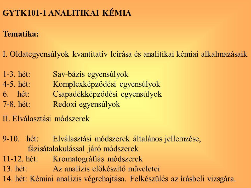 GYTK101-1 ANALITIKAI KÉMIA Tematika: I. Oldategyensúlyok kvantitatív leírása és analitikai kémiai alkalmazásaik 1-3. hét:Sav-bázis egyensúlyok 4-5. hé