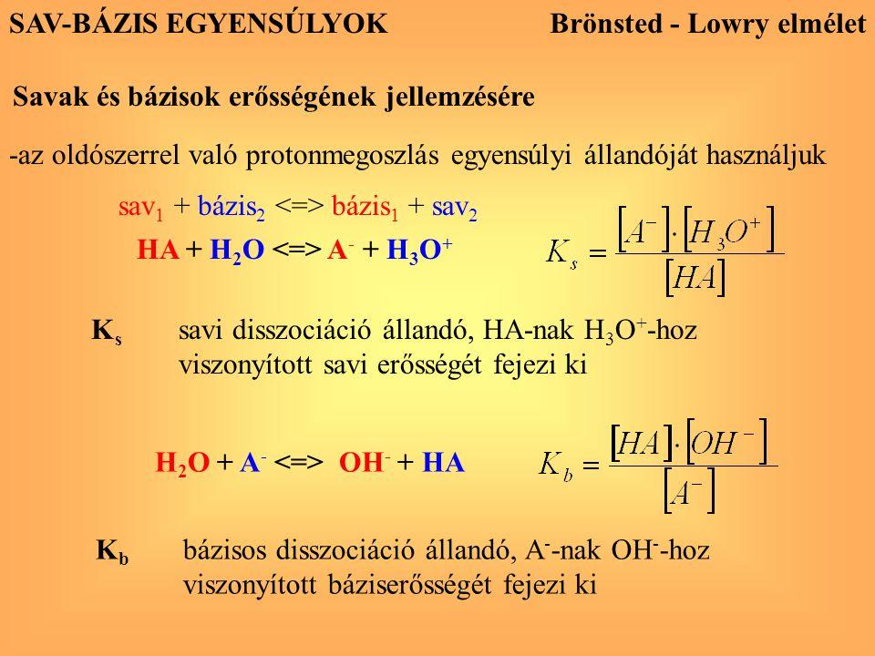 HA + H 2 O A - + H 3 O + K s savi disszociáció állandó, HA-nak H 3 O + -hoz viszonyított savi erősségét fejezi ki H 2 O + A - OH - + HA K b bázisos di