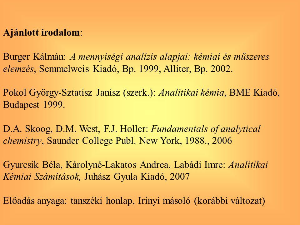 Ajánlott irodalom: Burger Kálmán: A mennyiségi analízis alapjai: kémiai és műszeres elemzés, Semmelweis Kiadó, Bp. 1999, Alliter, Bp. 2002. Pokol Györ