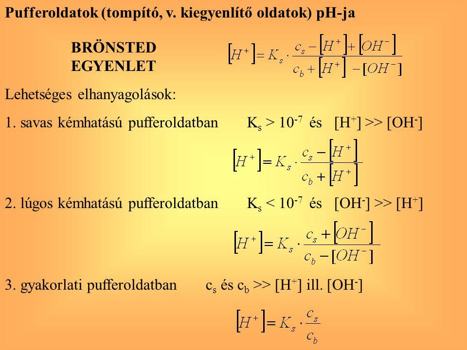 Pufferoldatok (tompító, v. kiegyenlítő oldatok) pH-ja BRÖNSTED EGYENLET Lehetséges elhanyagolások: 1. savas kémhatású pufferoldatban K s > 10 -7 és [H