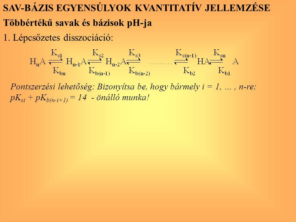 SAV-BÁZIS EGYENSÚLYOK KVANTITATÍV JELLEMZÉSE Többértékű savak és bázisok pH-ja 1. Lépcsőzetes disszociáció: Pontszerzési lehetőség: Bizonyítsa be, hog