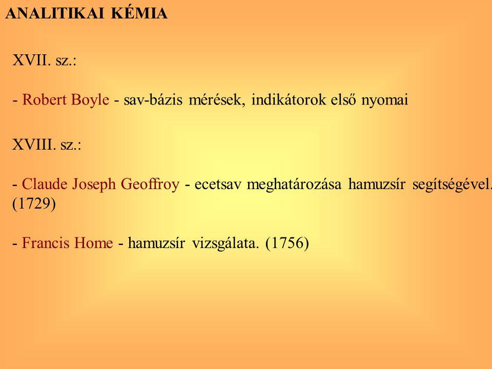 ANALITIKAI KÉMIA XVII. sz.: - Robert Boyle - sav-bázis mérések, indikátorok első nyomai XVIII. sz.: - Claude Joseph Geoffroy - ecetsav meghatározása h
