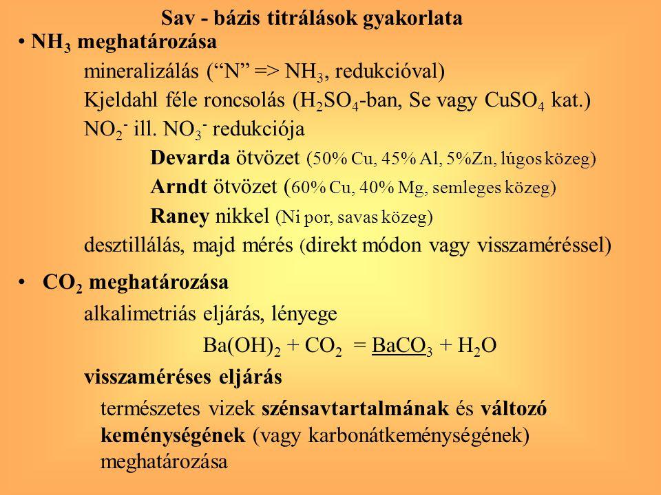 CO 2 meghatározása alkalimetriás eljárás, lényege Ba(OH) 2 + CO 2 = BaCO 3 + H 2 O visszaméréses eljárás természetes vizek szénsavtartalmának és válto