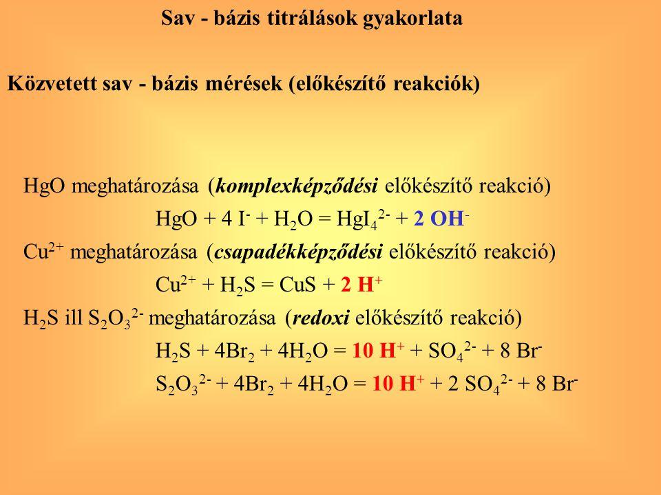 Közvetett sav - bázis mérések (előkészítő reakciók) HgO meghatározása (komplexképződési előkészítő reakció) HgO + 4 I - + H 2 O = HgI 4 2- + 2 OH - Cu