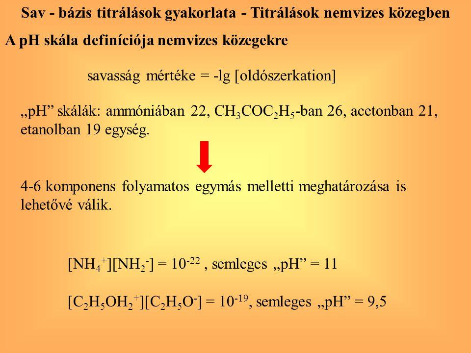 """A pH skála definíciója nemvizes közegekre savasság mértéke = -lg [oldószerkation] [NH 4 + ][NH 2 - ] = 10 -22, semleges """"pH"""" = 11 [C 2 H 5 OH 2 + ][C"""