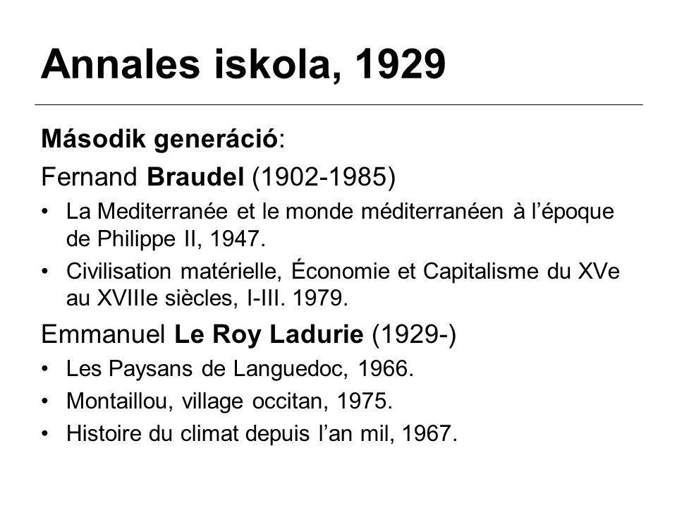 Annales iskola, 1929 Második generáció: Fernand Braudel (1902-1985) La Mediterranée et le monde méditerranéen à l'époque de Philippe II, 1947.