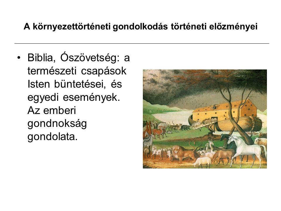 A környezettörténeti gondolkodás történeti előzményei Biblia, Ószövetség: a természeti csapások Isten büntetései, és egyedi események. Az emberi gondn