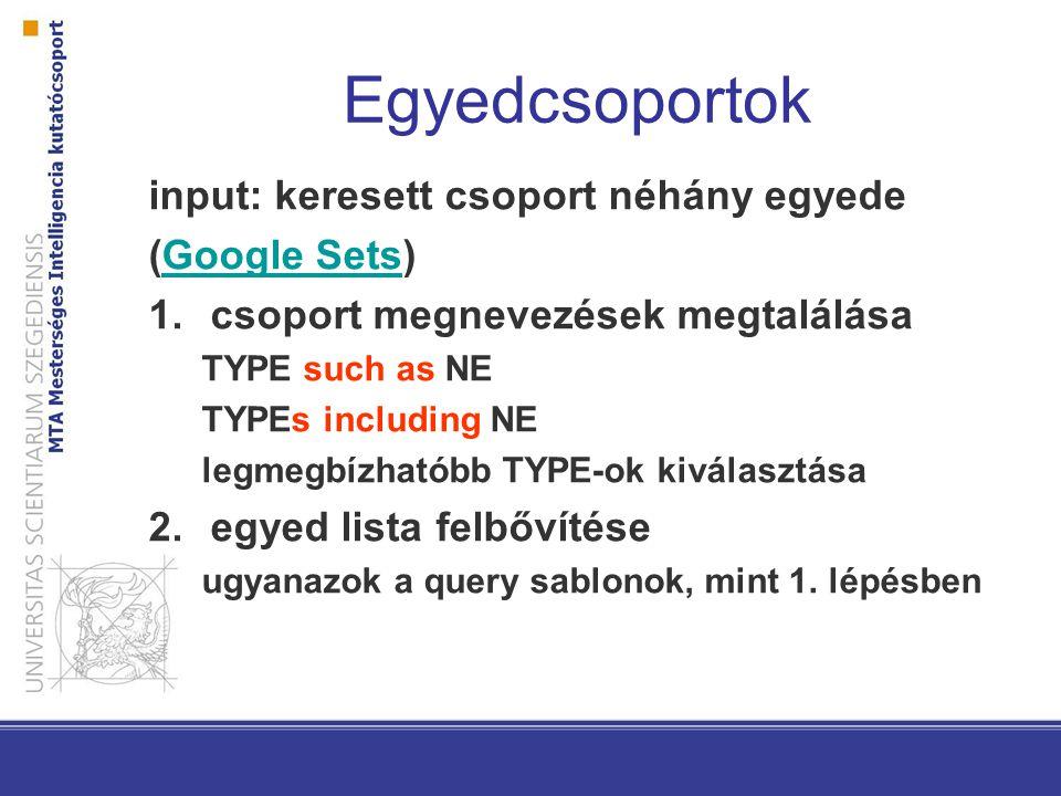 Egyedcsoportok input: keresett csoport néhány egyede (Google Sets)Google Sets 1.csoport megnevezések megtalálása TYPE such as NE TYPEs including NE legmegbízhatóbb TYPE-ok kiválasztása 2.egyed lista felbővítése ugyanazok a query sablonok, mint 1.