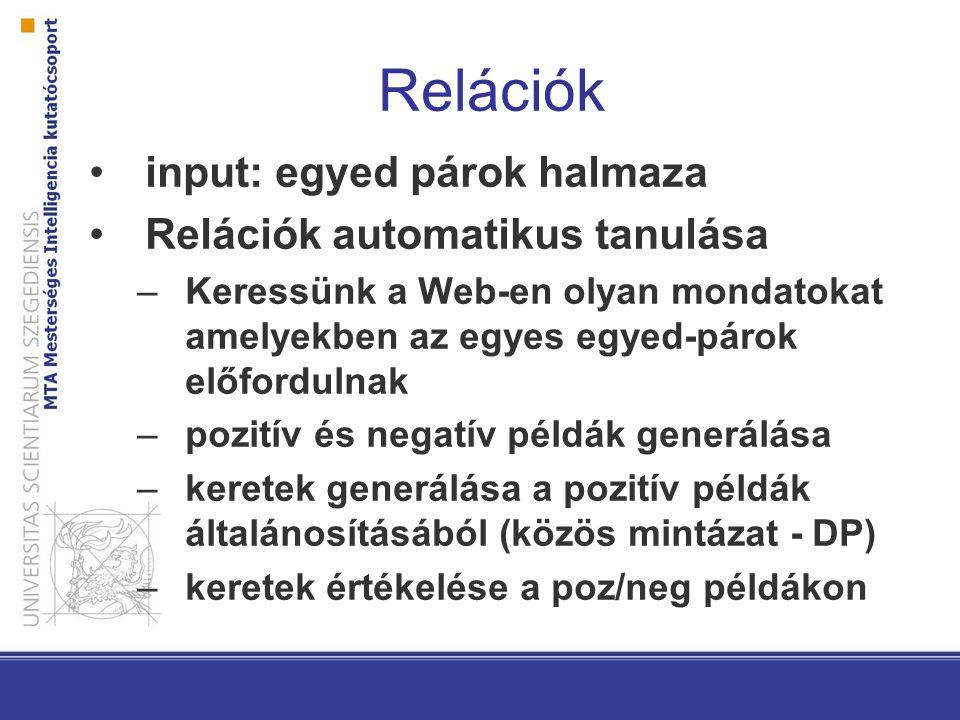 Relációk input: egyed párok halmaza Relációk automatikus tanulása –Keressünk a Web-en olyan mondatokat amelyekben az egyes egyed-párok előfordulnak –pozitív és negatív példák generálása –keretek generálása a pozitív példák általánosításából (közös mintázat - DP) –keretek értékelése a poz/neg példákon