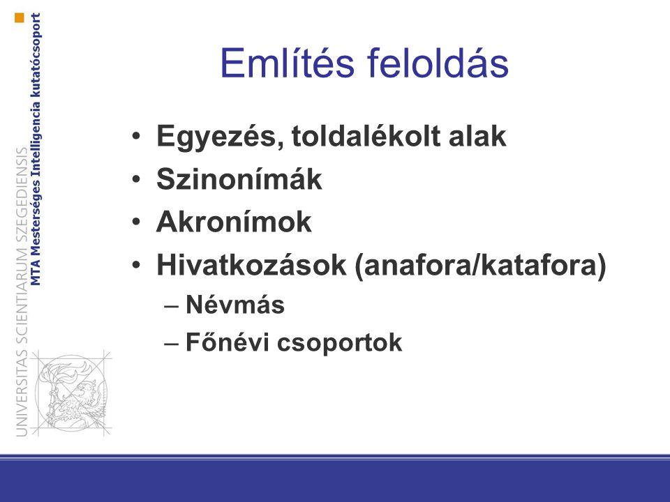 Említés feloldás Egyezés, toldalékolt alak Szinonímák Akronímok Hivatkozások (anafora/katafora) –Névmás –Főnévi csoportok