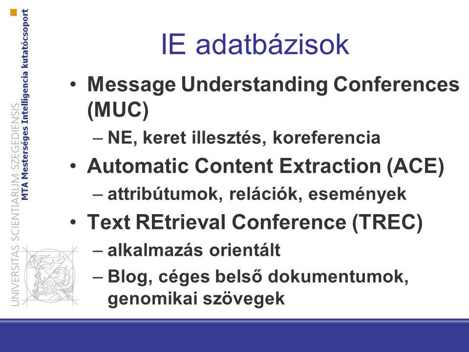 IE adatbázisok Message Understanding Conferences (MUC) –NE, keret illesztés, koreferencia Automatic Content Extraction (ACE) –attribútumok, relációk, események Text REtrieval Conference (TREC) –alkalmazás orientált –Blog, céges belső dokumentumok, genomikai szövegek
