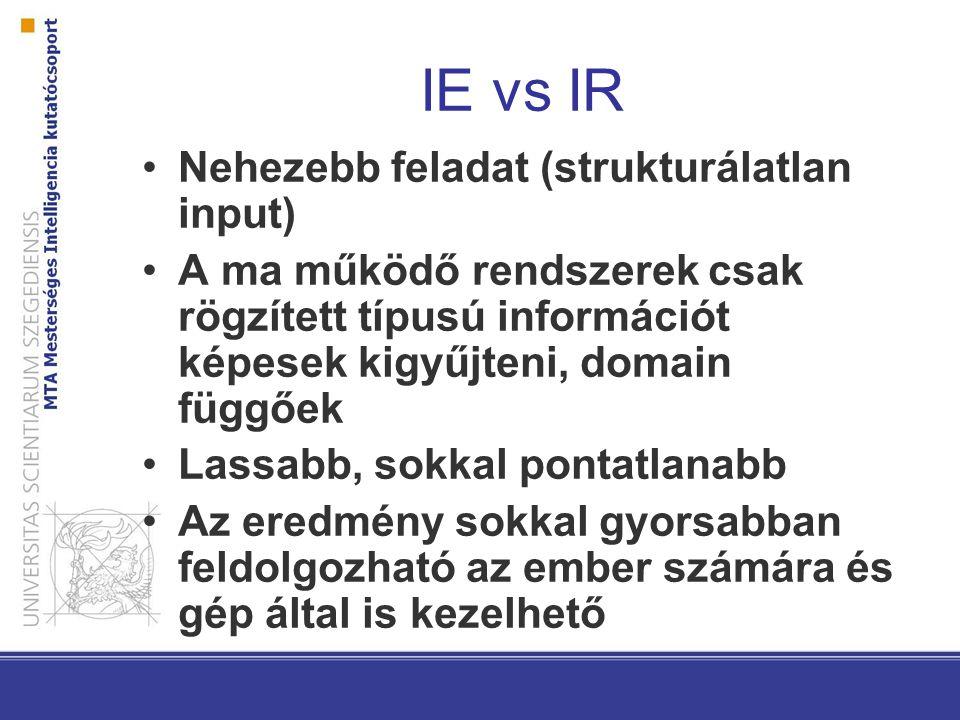 IE vs IR Nehezebb feladat (strukturálatlan input) A ma működő rendszerek csak rögzített típusú információt képesek kigyűjteni, domain függőek Lassabb, sokkal pontatlanabb Az eredmény sokkal gyorsabban feldolgozható az ember számára és gép által is kezelhető