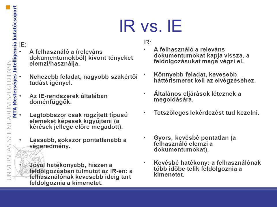 IR vs.IE IE: A felhasználó a (releváns dokumentumokból) kivont tényeket elemzi/használja.