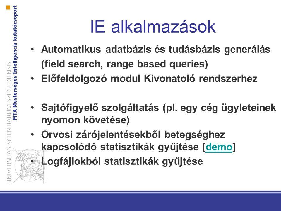 IE alkalmazások Automatikus adatbázis és tudásbázis generálás (field search, range based queries) Előfeldolgozó modul Kivonatoló rendszerhez Sajtófigyelő szolgáltatás (pl.