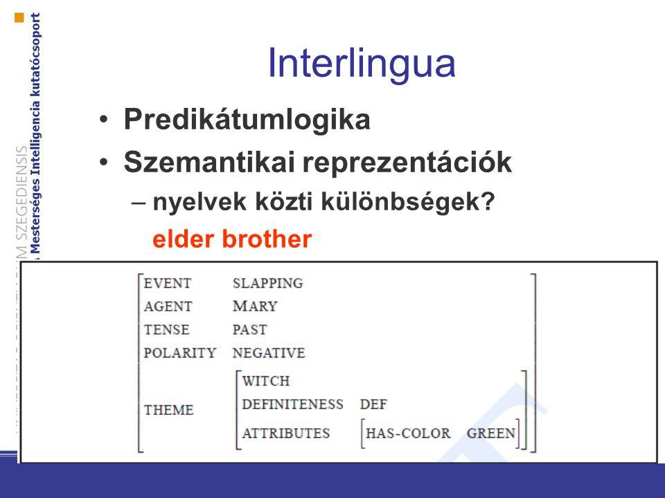 Interlingua Predikátumlogika Szemantikai reprezentációk –nyelvek közti különbségek elder brother