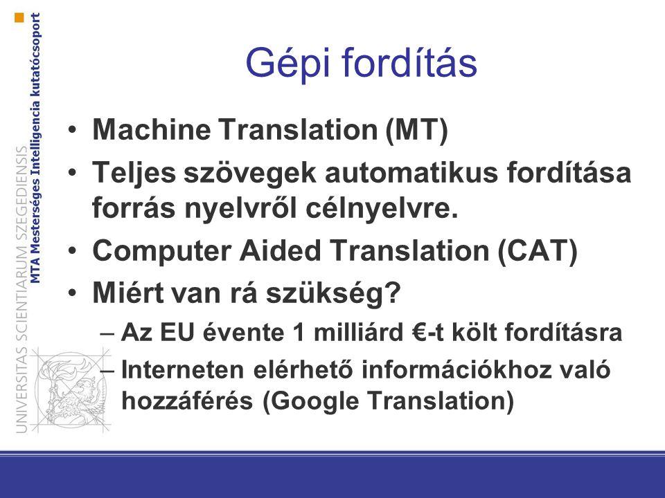 Gépi fordítás Machine Translation (MT) Teljes szövegek automatikus fordítása forrás nyelvről célnyelvre. Computer Aided Translation (CAT) Miért van rá