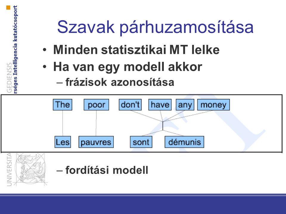 Minden statisztikai MT lelke Ha van egy modell akkor –frázisok azonosítása –fordítási modell
