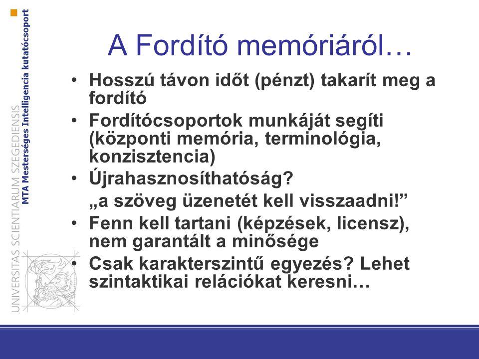 A Fordító memóriáról… Hosszú távon időt (pénzt) takarít meg a fordító Fordítócsoportok munkáját segíti (központi memória, terminológia, konzisztencia) Újrahasznosíthatóság.