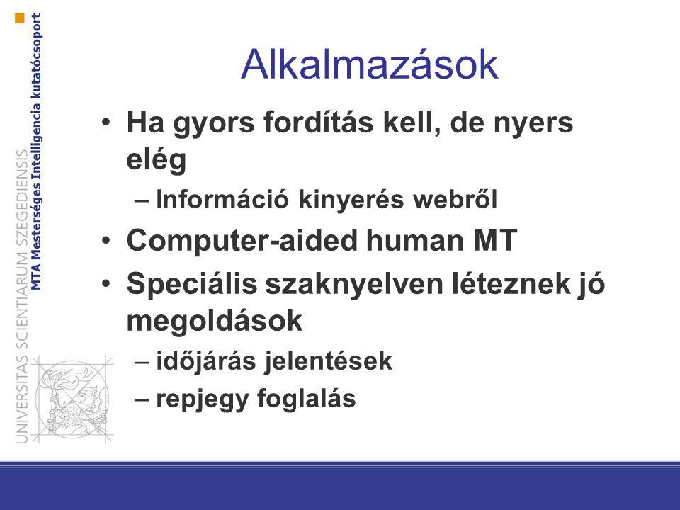 Alkalmazások Ha gyors fordítás kell, de nyers elég –Információ kinyerés webről Computer-aided human MT Speciális szaknyelven léteznek jó megoldások –időjárás jelentések –repjegy foglalás