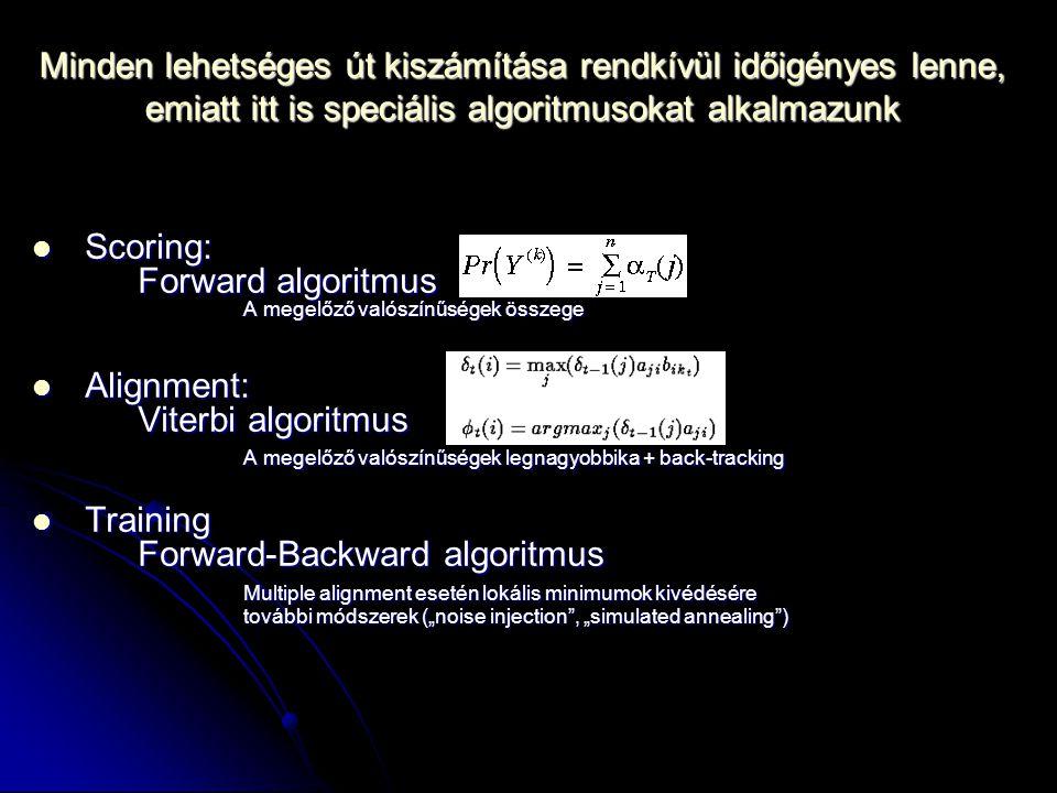 """Minden lehetséges út kiszámítása rendkívül időigényes lenne, emiatt itt is speciális algoritmusokat alkalmazunk Scoring: Forward algoritmus A megelőző valószínűségek összege Scoring: Forward algoritmus A megelőző valószínűségek összege Alignment: Viterbi algoritmus A megelőző valószínűségek legnagyobbika + back-tracking Alignment: Viterbi algoritmus A megelőző valószínűségek legnagyobbika + back-tracking Training Forward-Backward algoritmus Multiple alignment esetén lokális minimumok kivédésére további módszerek (""""noise injection , """"simulated annealing ) Training Forward-Backward algoritmus Multiple alignment esetén lokális minimumok kivédésére további módszerek (""""noise injection , """"simulated annealing )"""