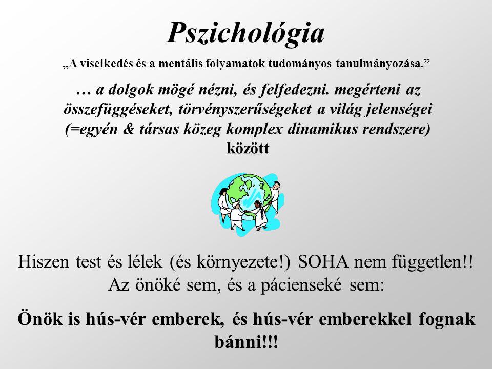 Pszichológia … a dolgok mögé nézni, és felfedezni. megérteni az összefüggéseket, törvényszerűségeket a világ jelenségei (=egyén & társas közeg komplex