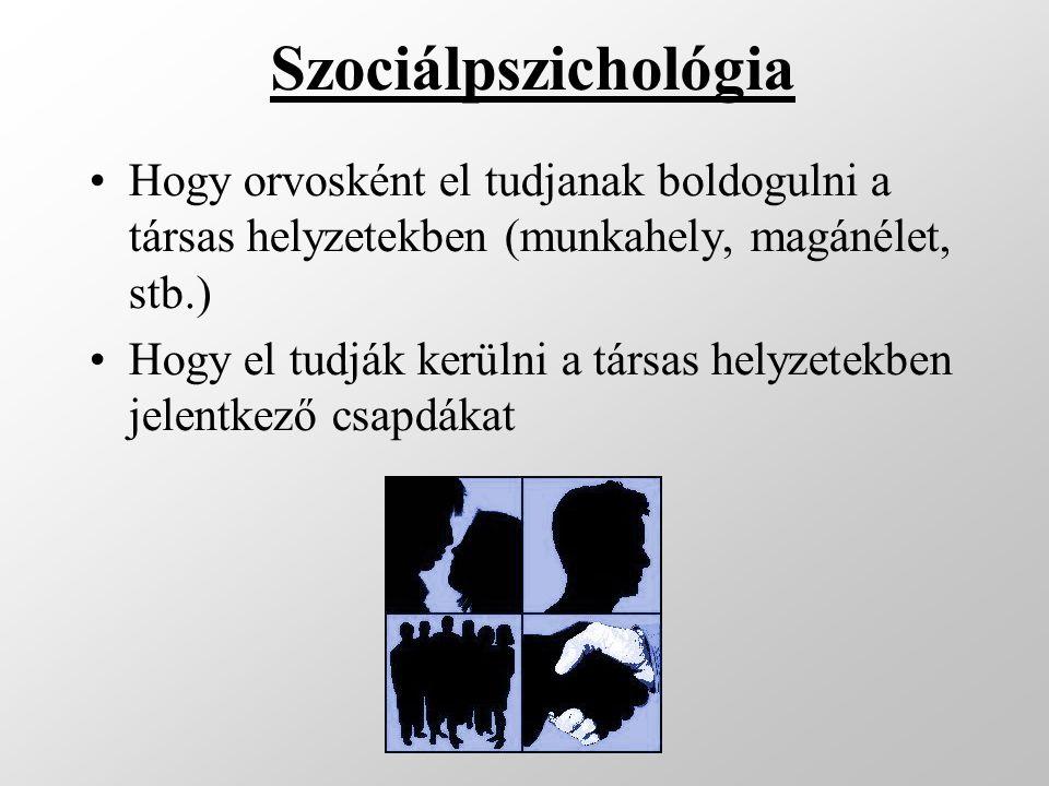 Szociálpszichológia Hogy orvosként el tudjanak boldogulni a társas helyzetekben (munkahely, magánélet, stb.) Hogy el tudják kerülni a társas helyzetek